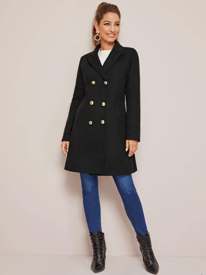Lapel Collar Slant Pocket Pea Coat