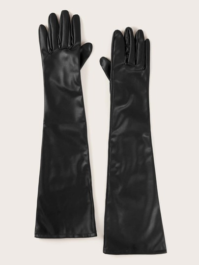 Long PU Leather Gloves