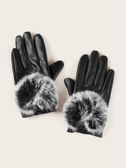 Fluffy Pom Pom PU Leather Gloves