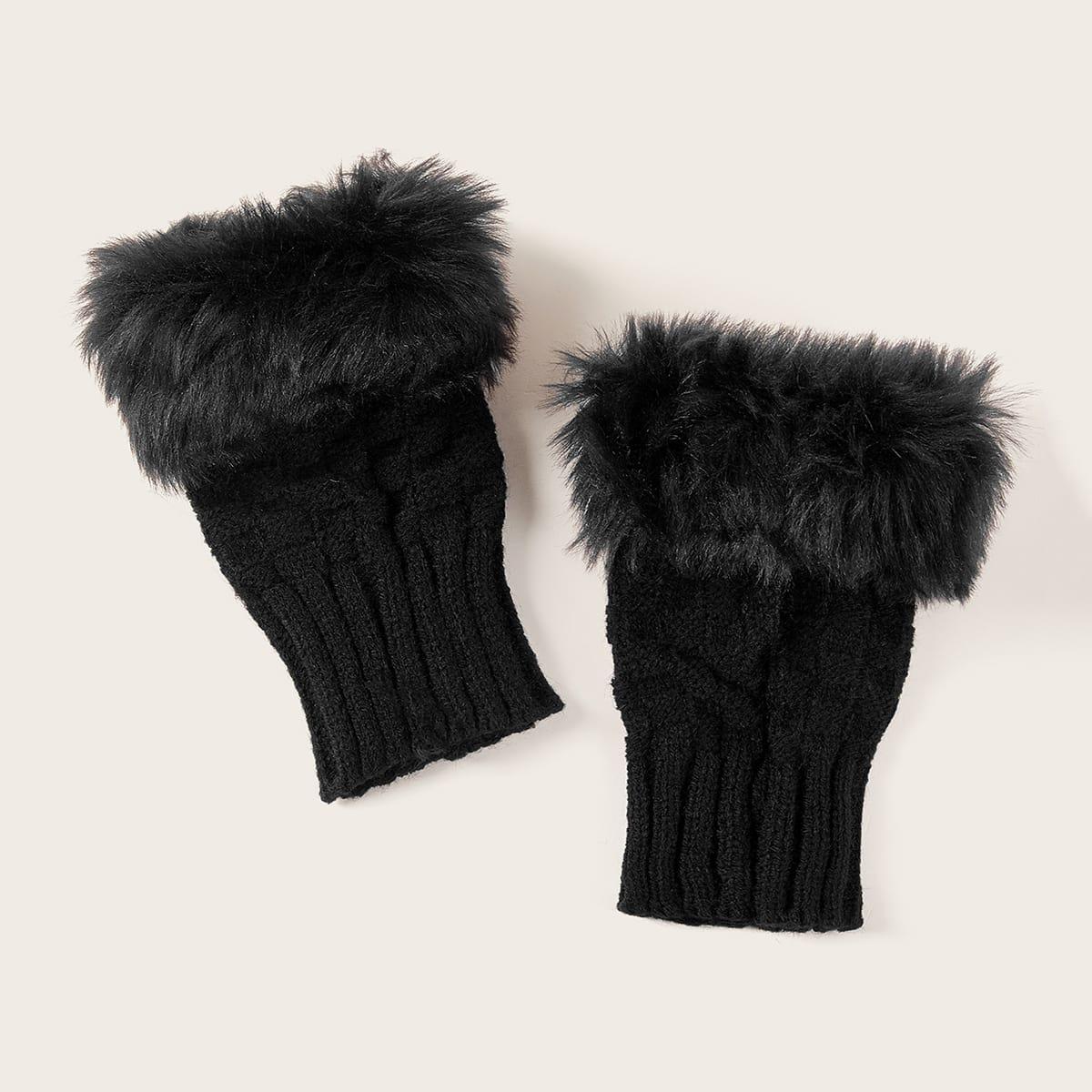 Вязаные перчатки с плюшевой отделкой 1 пара