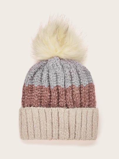 Colorblock Fluffy Pom Pom Beanie