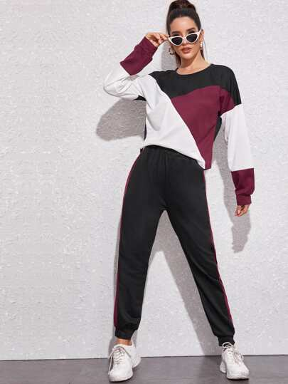 Cut And Sew Sweatshirt & Sweatpants Set