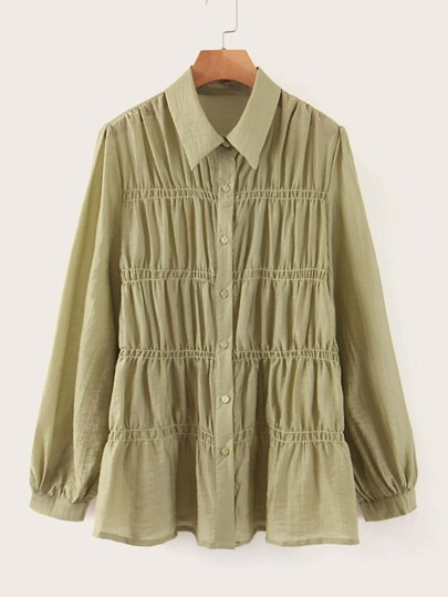 Button Up Ruched Detail Blouse