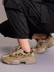 Leopard Pattern Lace-up Front Chunky Sneakers