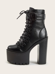 Buckle Decor Lace-up Front Chunky Boots