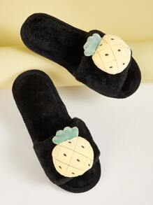 Pineapple Decor Open Toe Fluffy Slippers