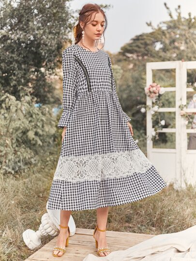 Gingham Lace Panel Flounce Sleeve Smock Dress