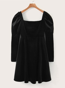 Puff Sleeve Velvet Flared Hem Dress