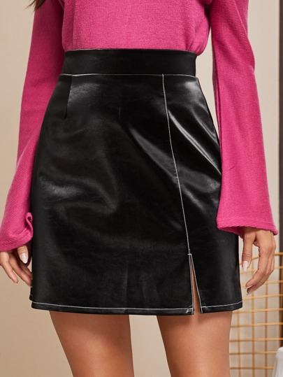 Solid Faux Leather Split Skirt