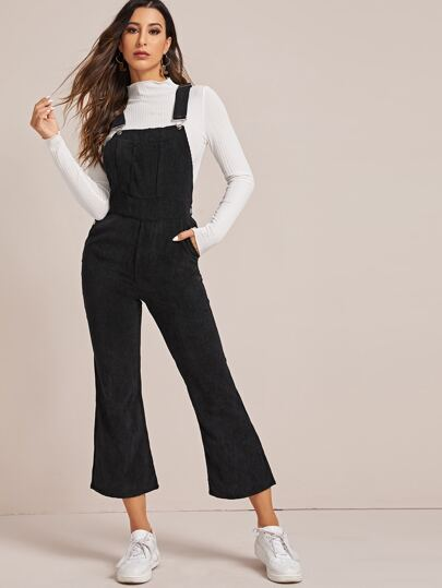 Solid Pocket Flare Leg Corduroy Overall