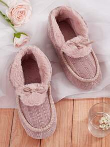 Bow Decor Faux Fur Lined Slippers