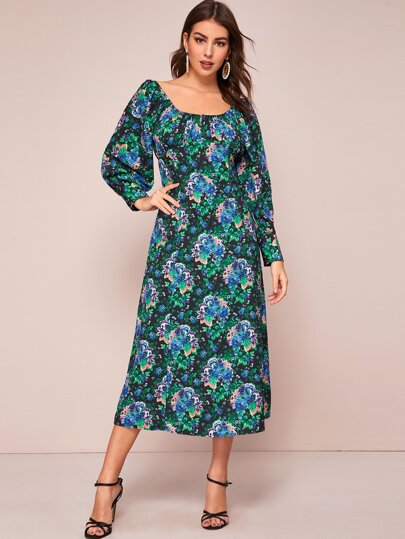 Square Neck Floral Print A-line Dress
