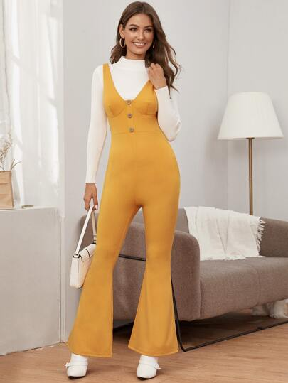 Solid Flare Leg Pinafore Jumpsuit