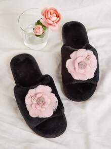 Applique Decor Open Toe Fluffy Slippers