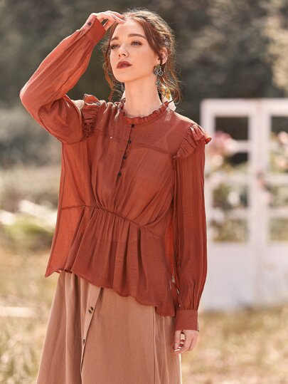 Button Front Ruffle Trim Frill Blouse