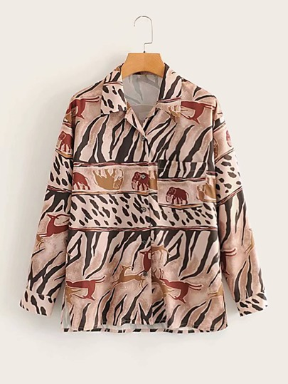 Button Front Animal Print Blouse