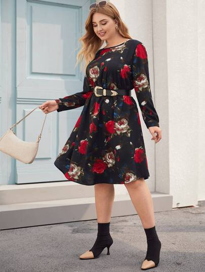 Plus Floral Print A-Line Dress Without Belt