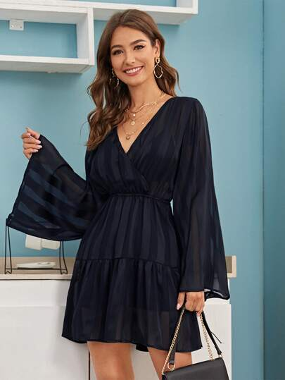 Bell Sleeve Ruffle Hem Surplice Dress