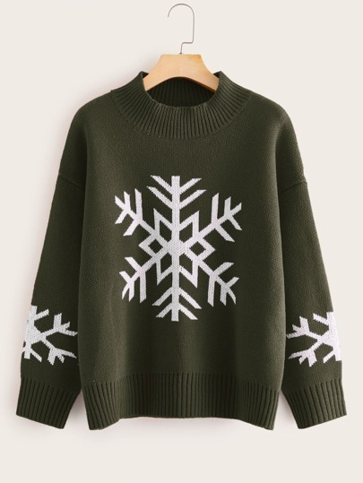 Christmas Snowflake Print Sweater