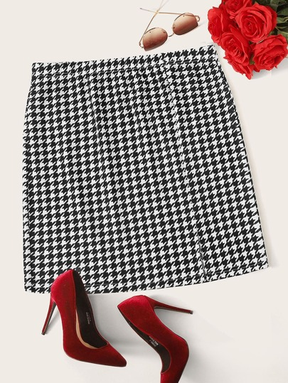 Plus Houndstooth Print Straight Skirt