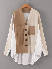 Cut And Sew High Low Cardigan