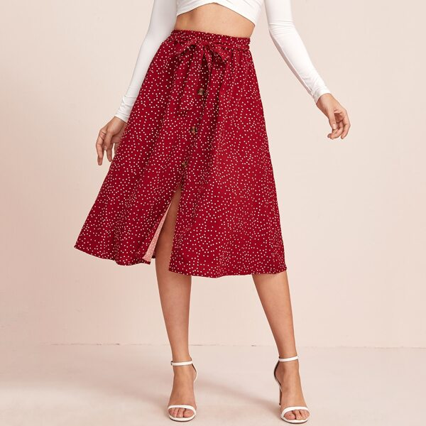 Polka Dot Button Front Belted Skirt, Red