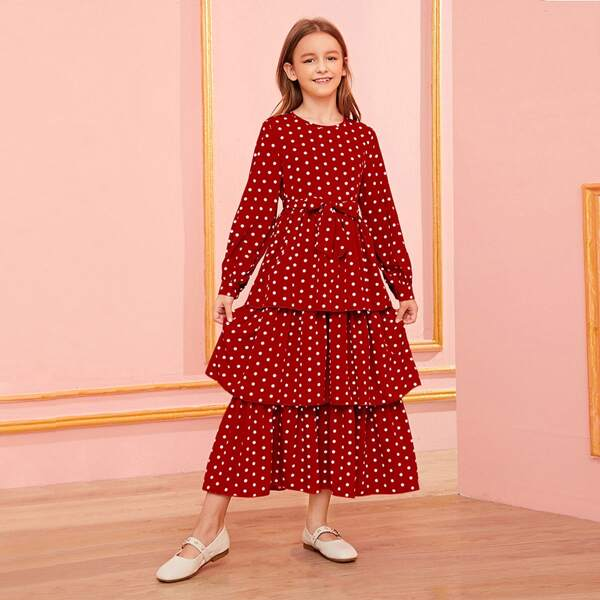 Girls Self Belted Tiered Layered Polka Dot Dress, Red