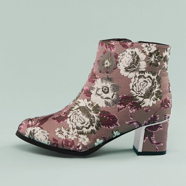 Metal Heel Detail Embroidered Floral Booties, Multicolor