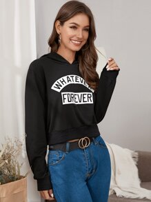 Slogan Graphic Hooded Sweatshirt