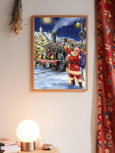 Christmas Train & Santa Claus Wall Print Without Frame