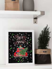 Christmas Retro Car Wall Print Without Frame