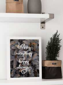 Christmas Slogan & Pine Needle Wall Print Without Frame