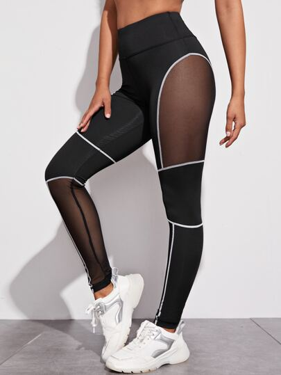 Contrast Mesh Topstitching Sports Leggings
