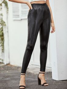 Crocodile Print Elastic Waist Leggings