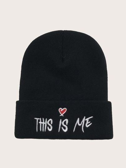 Letter Embroidery Decor Beanie
