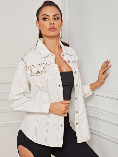 Beaded Topstitching Denim Trucker Jacket