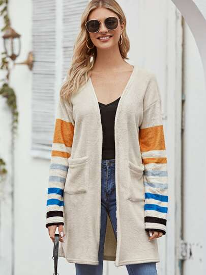 Open Front Striped Sleeve Double Pocket Coat