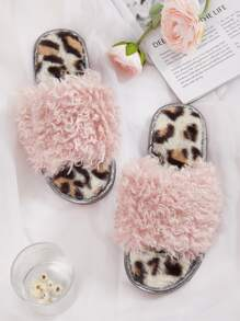 Faux Fur Decor Leopard Sole Slippers