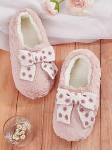 Polka Dot Bow Decor Fluffy Slippers