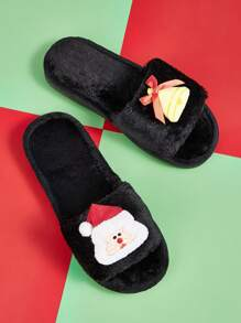 Christmas Design Open Toe Fluffy Slippers