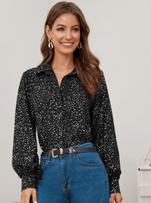 Button Front Star Print Blouse