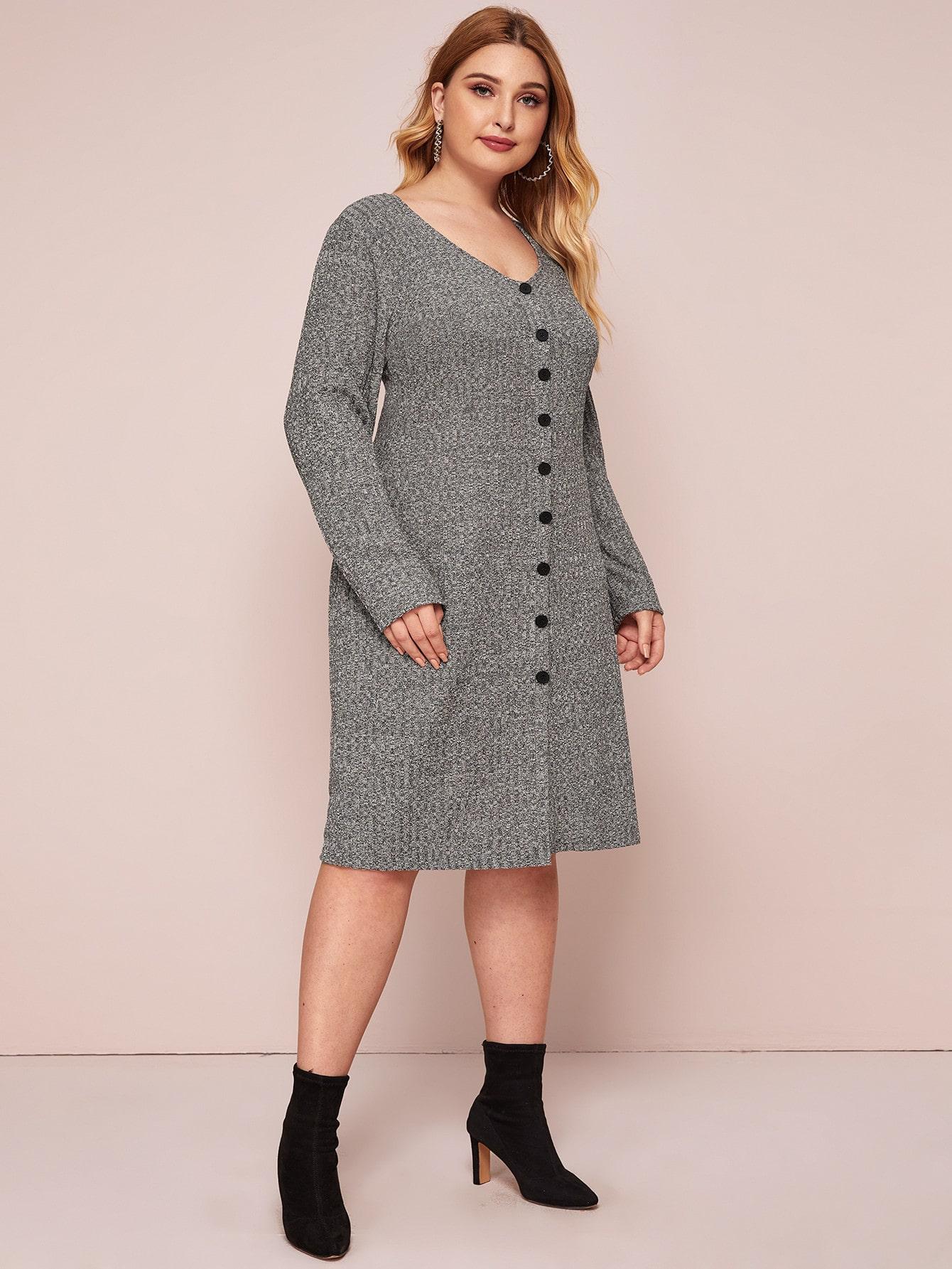 Plus Button Through Space Dye Sweater Dress