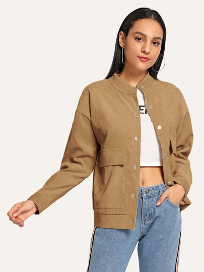 Flap Pocket Corduroy Utility Jacket