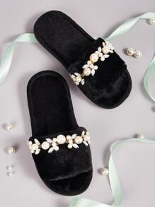 Faux Pearl Decor Open Toe Fluffy Slippers