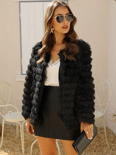 Open Front Fluffy Fringe Coat