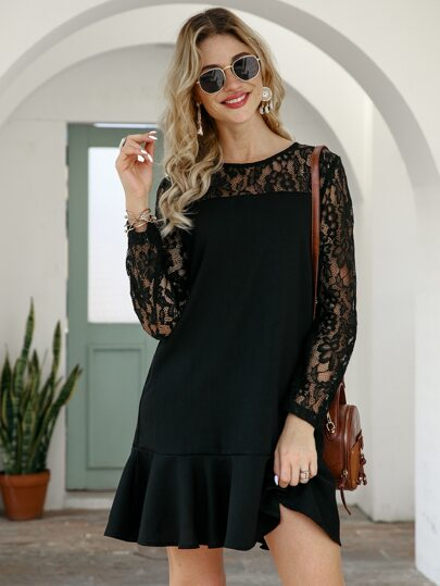 Contrast Lace Ruffle Hem Dress