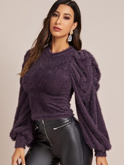 Solid Bishop Sleeve Fuzzy Sweater