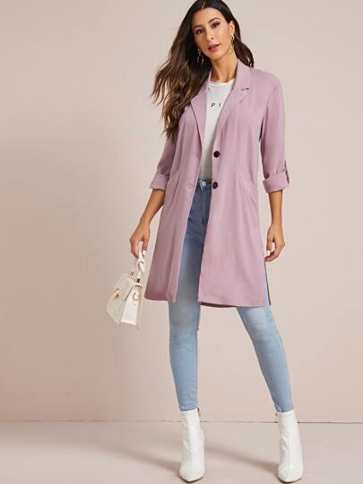Solid Roll Up Sleeve Lapel Collar Trench Coat