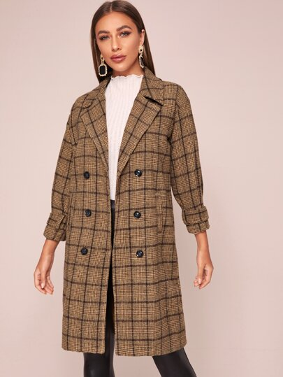 Plaid Lapel Collar Double Breasted Coat