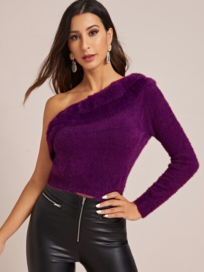 One Shoulder Foldover Fuzzy Sweater
